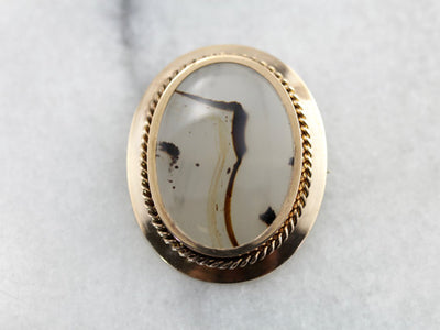 Fine Montana Agate set into a Turn of the Century Gold Brooch