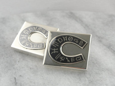 The Zodiac in Siam: Niello Sterling Siam Cufflinks, Horseshoe Zodiac Design