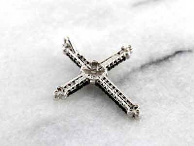 Stunning Champagne Diamond Contemporary Cross Pendant