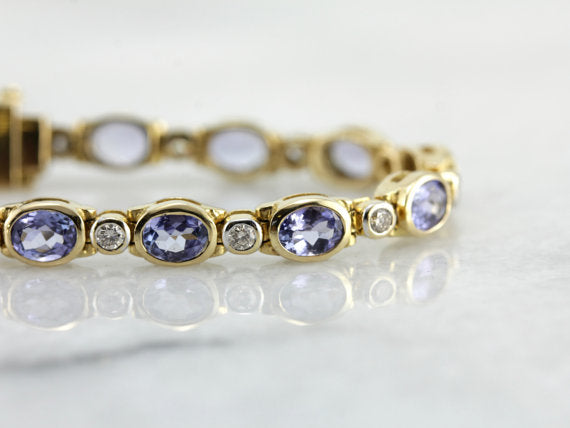 Contemporary Style, Bezel Set Tanzanite and Diamond Tennis Bracelet