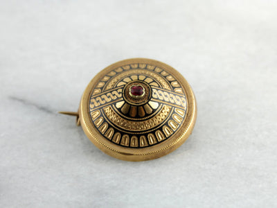 Victorian Era Dome Pin with Fine Black Enamel and Ruby Doublet Center