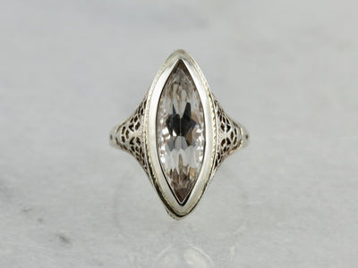 Art Deco Era Colorless Kunzite Cocktail Ring