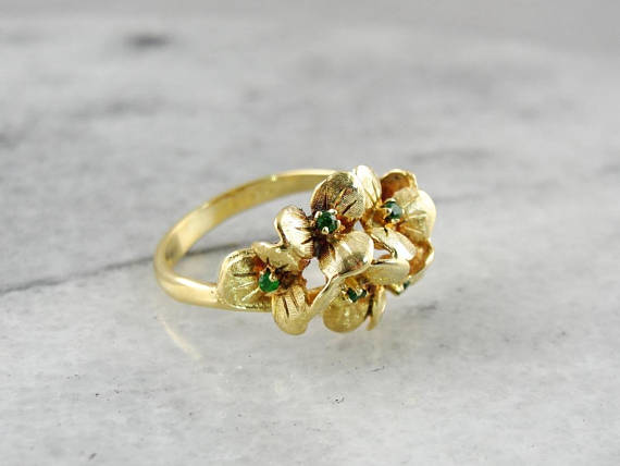 Vintage Demantoid Garnet Fine Gold Flower Ring