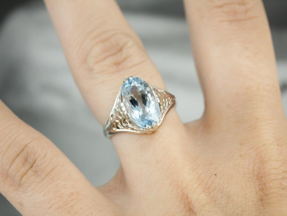 Aquamarine Art Deco Cocktail Ring
