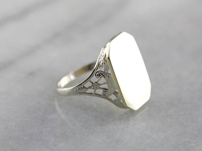 Lovely Two Tone Filigree Signet Ring