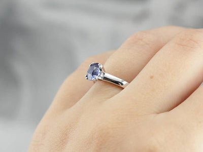 Sleek Sapphire and Platinum Engagement Ring