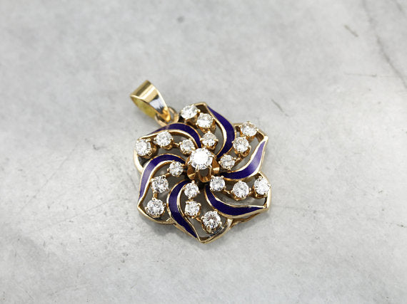 Outstanding Diamond and Vintage Gold Blue Enamel Galaxy Spiral Pendant