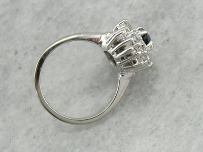 Traditional Cocktail, Sapphire and Diamond Cocktail Ring