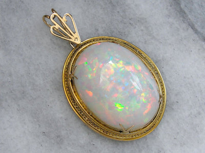 Collector's, Investment or Museum Quality Ethiopian Welo Opal Pendant, Fine Filigree Antique Gold Mounting