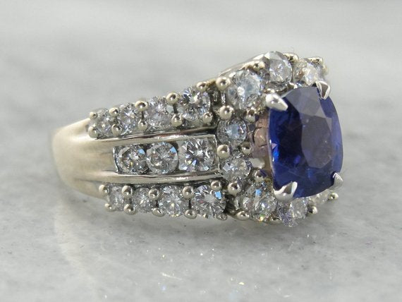 Breathtaking Color Change Sapphire and Diamond Anniversary, Engagement or Cocktail Ring