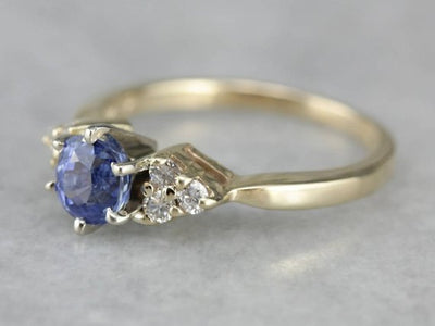Natural Sapphire and Diamond Engagement Ring
