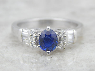 Fine Ceylon Sapphire, Platinum and Diamond Lady's Ring