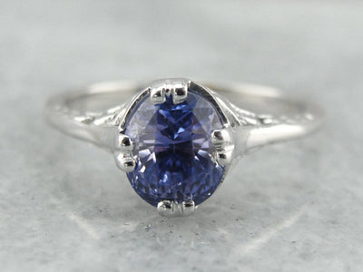 Floral Filigree Engagement Ring, Sapphire Solitaire, Lilac Sapphire