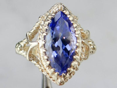 Indigo Tanzanite in Marquise Cut Mounting