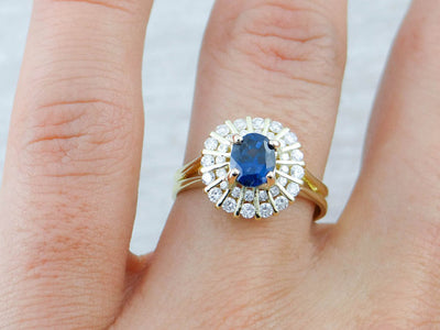Sapphire and Diamond Ring with Radiant Motif