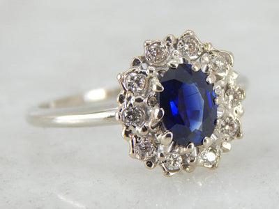 The Classic Sapphire Ring with Diamond Halo