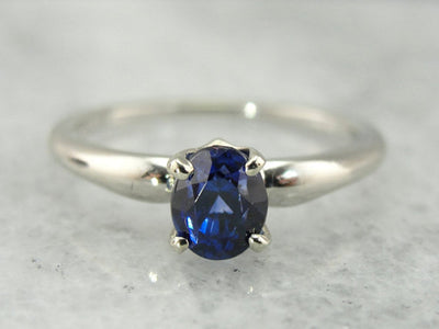 Blue Ceylon Sapphire White Gold Solitaire Engagement Ring