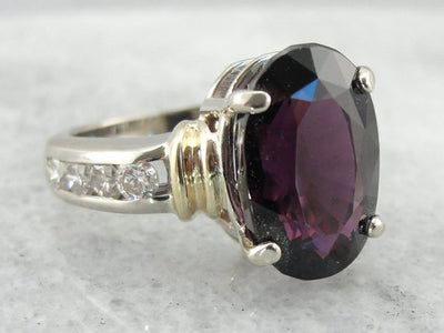 Garnet, Diamond and Fine Gold Cocktail Ring