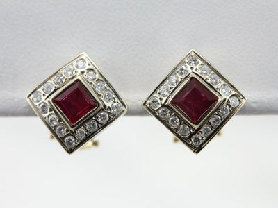 Contemporary Ruby and Diamond Halo Earrings