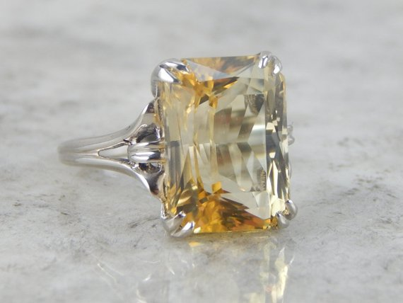 Brilliant Golden Scapolite Gemstone Cocktail Ring
