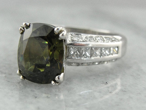 Collector's Quality, Stunning Demantoid Garnet and Diamond Statement Ring in Platinum, RARE