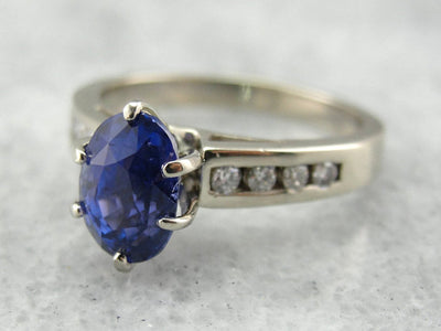 Outstanding Blue Sapphire and Diamond Engagement Ring