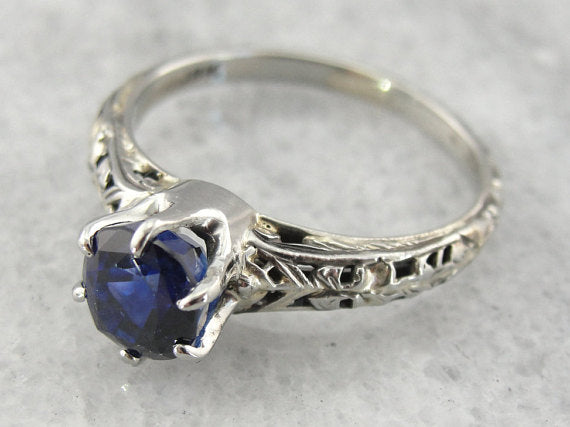 Art Deco Sapphire White Gold Filigree Engagement Ring