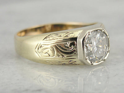 One Carat, Green Gold Engraved Ring