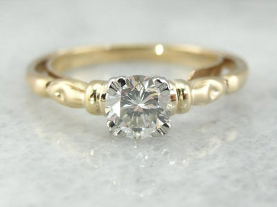 1950's Decorative Solitaire Diamond Engagement Ring