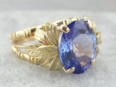 Bamboo and Leaves Tanzanite Cocktail Ring