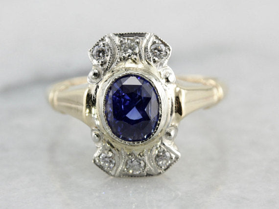 Late Deco Era Sapphire Ring with Diamond Accents in Two Tone Gold
