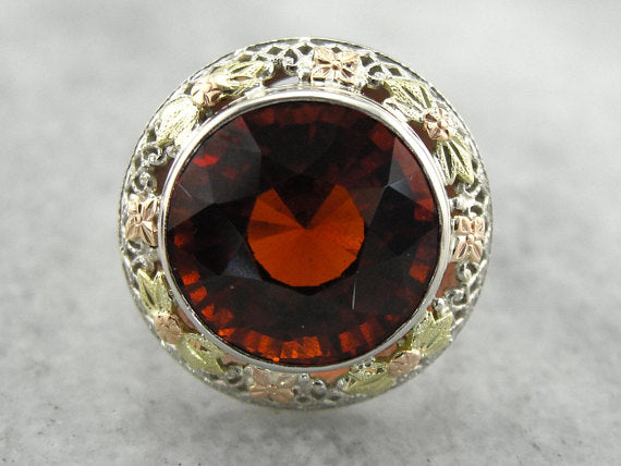 Hessonite Garnet Cocktail Ring