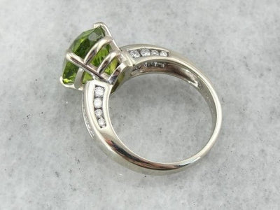 Luxurious Peridot, White Gold and Diamond Cocktail Ring