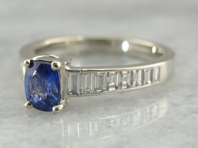 Sapphire and Diamond Engagement Ring in White Gold