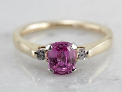 Perfectly Pink Sapphire Engagement Ring, Classic Style with Platinum and Diamond Accents