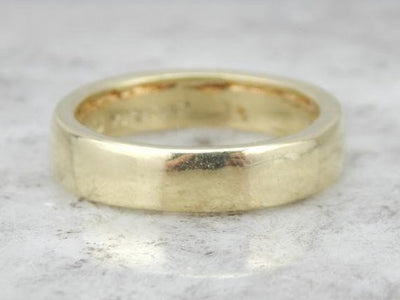 Handwrought 18K Green Gold Wedding Band with Excellent Weight