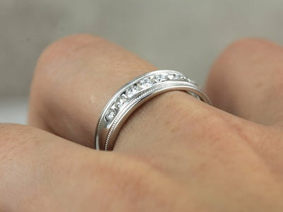 Wide Platinum and Diamond Wedding Band, Channel Set Diamonds, Mens