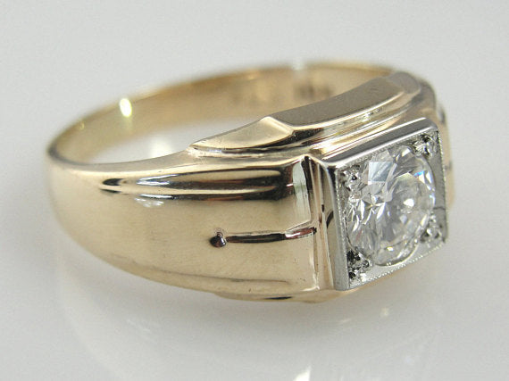 Vintage Mens Diamond Ring, Alternative Wedding Band