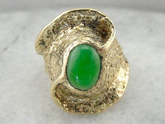 Unusual Jade Statement Ring, Chunky Yellow Gold Setting