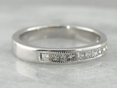 Milgrain Edged Channel Set Band with Square Diamonds