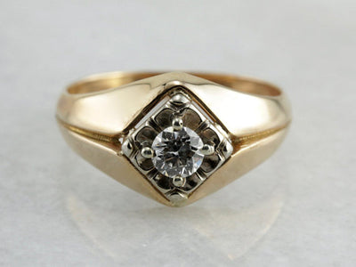 Retro Era Mens Dome Diamond Ring