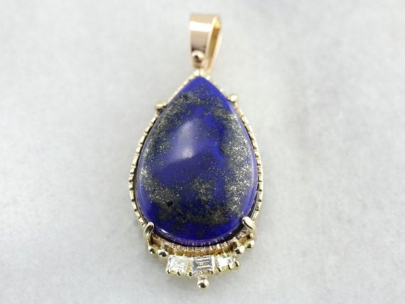 Large Lapis and Diamond Statement Pendant