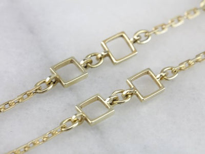 Substantially Mod: Golden Geometric Motif, Modernist Necklace