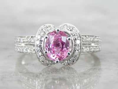 Pink Sapphire Pave Diamond Halo Engagement Ring