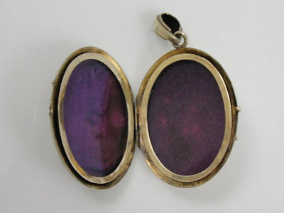 Enamel and Seed Pearls in Gold Gothic Locket