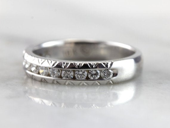 Etched Channel Set Diamond Wedding Band, Alternative Engagement for Him