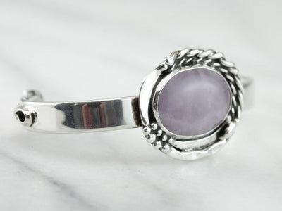 Until There's A Cure, Amethyst Breast Cancer Cuff Bracelet