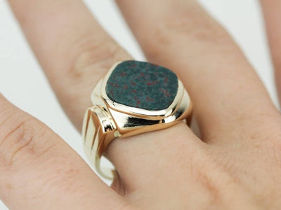 Vintage Men's Bloodstone Ring, Mid Century Yellow Gold Ring