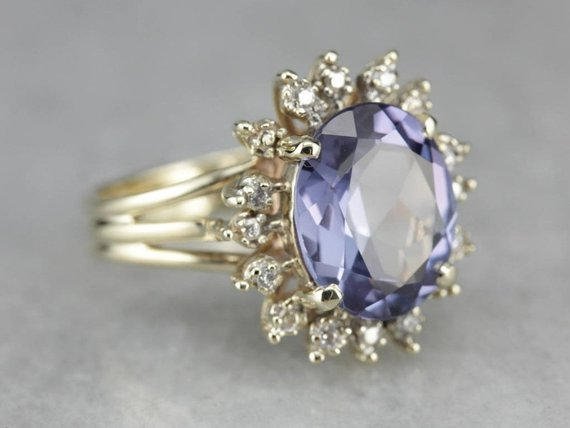 Synthetic Alexandrite Halo Ring