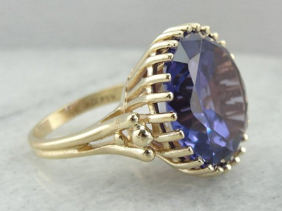 Oversized Vintage Synthetic Alexandrite Cocktail Ring, The Very Definition of 1960s Style